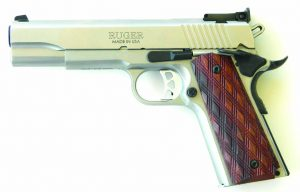 The Ruger SR1911 10mm pistol is a rugged and reliable handgun. The author fitted a set of Ahrends checkered grips in order to improve the feel of the Ruger 10mm.
