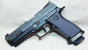 Sig's P320 X5 ready to go with Talon Grip installed to give you a better purchase in the wettest of conditions.