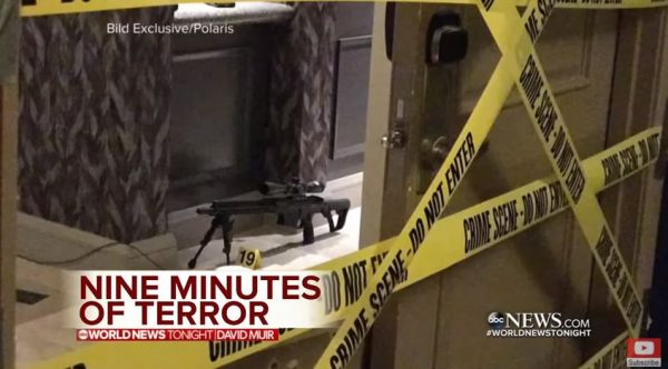 Image purportedly from the suite occupied by Las Vegas mass killer Stephen Paddock. (Screen capture: YouTube, ABC News.)