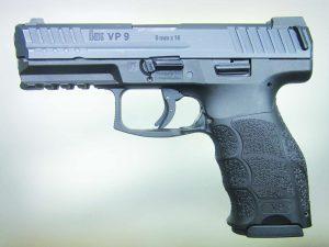 The H&K VP9 pistol seen from the left side.