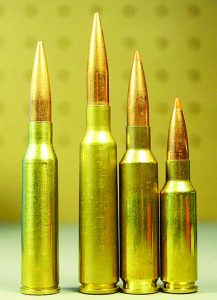 The 6.5x50 is overshadowed in popularity by the 6.5x55 Swede, 6.5 Creedmoor and 6.5 Grendel (L-R).