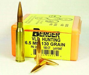 Berger 130-gr. VLD Hunting bullets reached high-end velocities without pressure signs in a Type 38 rifle.
