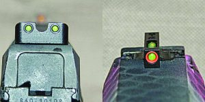 """When you want multi-purpose hard use handgun sights, Truglo's TFX Pro is it; note the """"U"""" notch rear and tritium fiber optic front."""