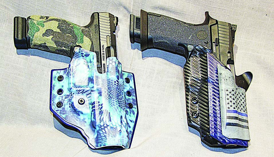 "3i's pancake holster in Kryptek Pontus for Canik TP9SFx and custom ""Blue Line"" for Sig P320 X5. These holsters are the epitome of art and function."