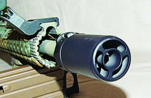 The muzzle end of the Warden Blast Diffuser. The tube channels the blast of a muzzle brake forward away from the shooter and anyone on the sides.