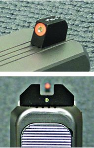 "You can see the orange outline tritium on the front sight and the bold ""U"" notch with its tritium vial in the rear of XS Sights F8 Night Sight."