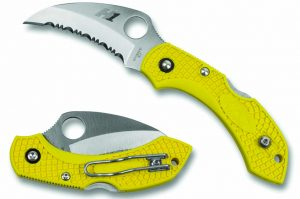 New Spyderco Dragonfly Variation features a fully serrated hawkbill H-1 steel blade.
