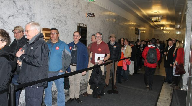 Gun owners lined up for gun control hearings in Washington state. (Dave Workman)