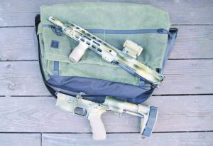 The Wanderer Messenger bag is the perfect size for discretely carrying a PDW or AR pistol.