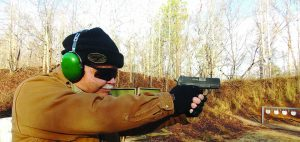 The morning was brisk for a field test session but the XDE pistol was very pleasant