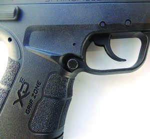 Grip treatment is ideal for adhesion when firing. The magazine release is ambidextrous.
