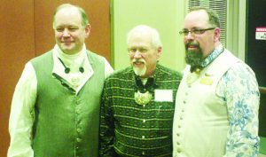 Left to right: HCH 2018 Guildmaster Carl Dumke with newly raised Master Horner Rex Reddick and Guildmaster elect John DeWalt.