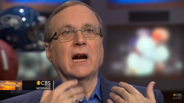 Paul Allen, owner of the Seattle Seahawks, gave $1 million to a Washington State gun control initiative campaign. (Screen snip, YouTube, CBS)