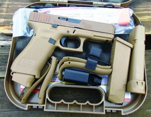Glock supplies four grip inserts, three magazines, a magazine loader and a cleaning brush with the 19X 9mm.