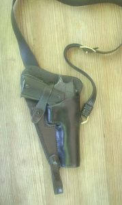 The G.I. Tanker holster, familiar to all veterans of the tank corps, as made by El Paso Saddlery.