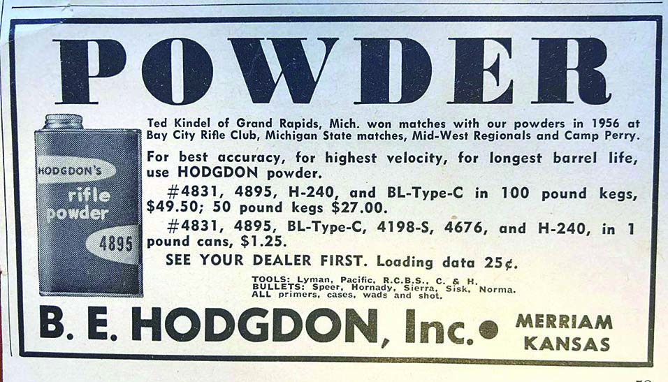 A 1957 Hodgdon magazine ad included BL-Type-C powder.