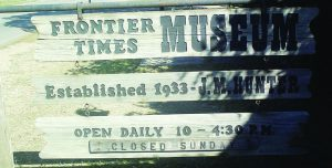 The Frontier Times Museum sign in Bandera, TX.