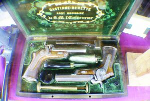 A set of Gastinne-Renette dueling pistols owned by Cletus Klein that where displayed at the Paris Fair in 1854.