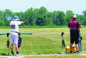 Minnesota high schoolers Woodrow Glazer, left, and Mason Milbrand, right, both shot perfect 200 scores during preliminary individual competition during the inaugural National Championships of the USA High School Clay Target League. (Photo courtesy USAHSCTL)