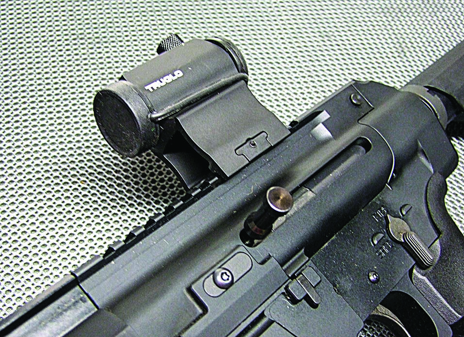 A view of the side charging handle along with the Tru-Tec.