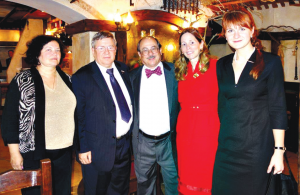 Among the international civilian gun rights advocates meeting in Moscow, Oct. 31 and Nov. 1 were, left to right: Mrs. Alexander Torshin; Russian Sen. Torshin; Alan M. Gottlieb, Julianne Versnel and Maria Butina, shown here after a dinner meeting in the Russian capital. Sen. Torshin is the First Deputy Chairman of the Federal Assembly, the Russian Parliament. Butina is the head of Bear Arms Russia, who chaired the two-day conference. Gottlieb and Versnel are directors of the International Association for the Protection of Civilian Arms Rights.