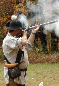 A flint shooter on the line at the rifle frolic in Pennsylvania.