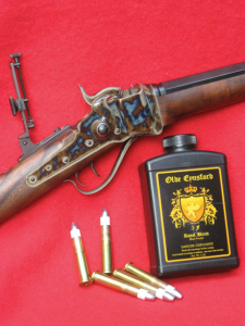 Olde Eynsford is shown with the author's new C. Sharps Arms Model 1874 .44/77 rifle and loads using the new powder.
