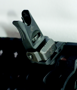 Knight's offset front back-up sights. This system is out of the way when you don't need it and accurate when you do.