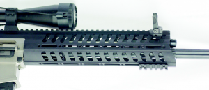 POF's one piece forearm, the MRR-Modular Railed Receiver, you see the fluted barrel which reduces weight and aids in heat dissipation.